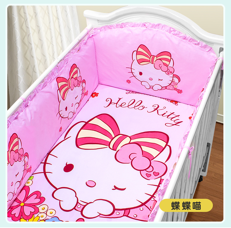 Promotion! 5PCS Baby Bedding Set Cartoon Character Crib Bedding Set Cotton Baby Bedclothes,(bumper+sheet )