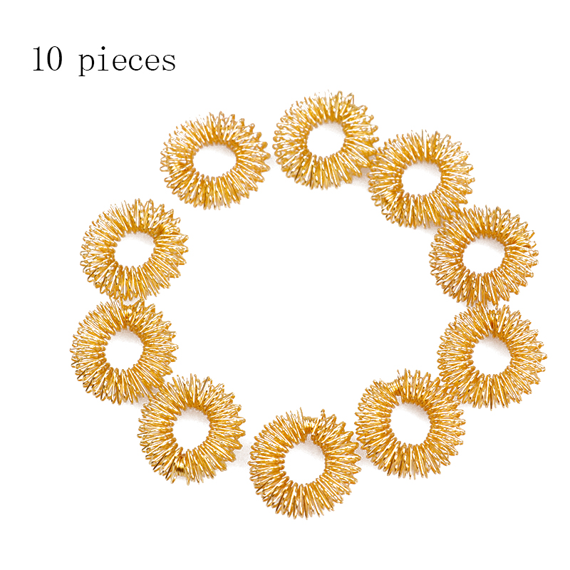 10pcs/Lot Hot Sale Finger Massage Sujok Ring Acupuncture Ring Health Care Body Massage Chinese Medicine color gold