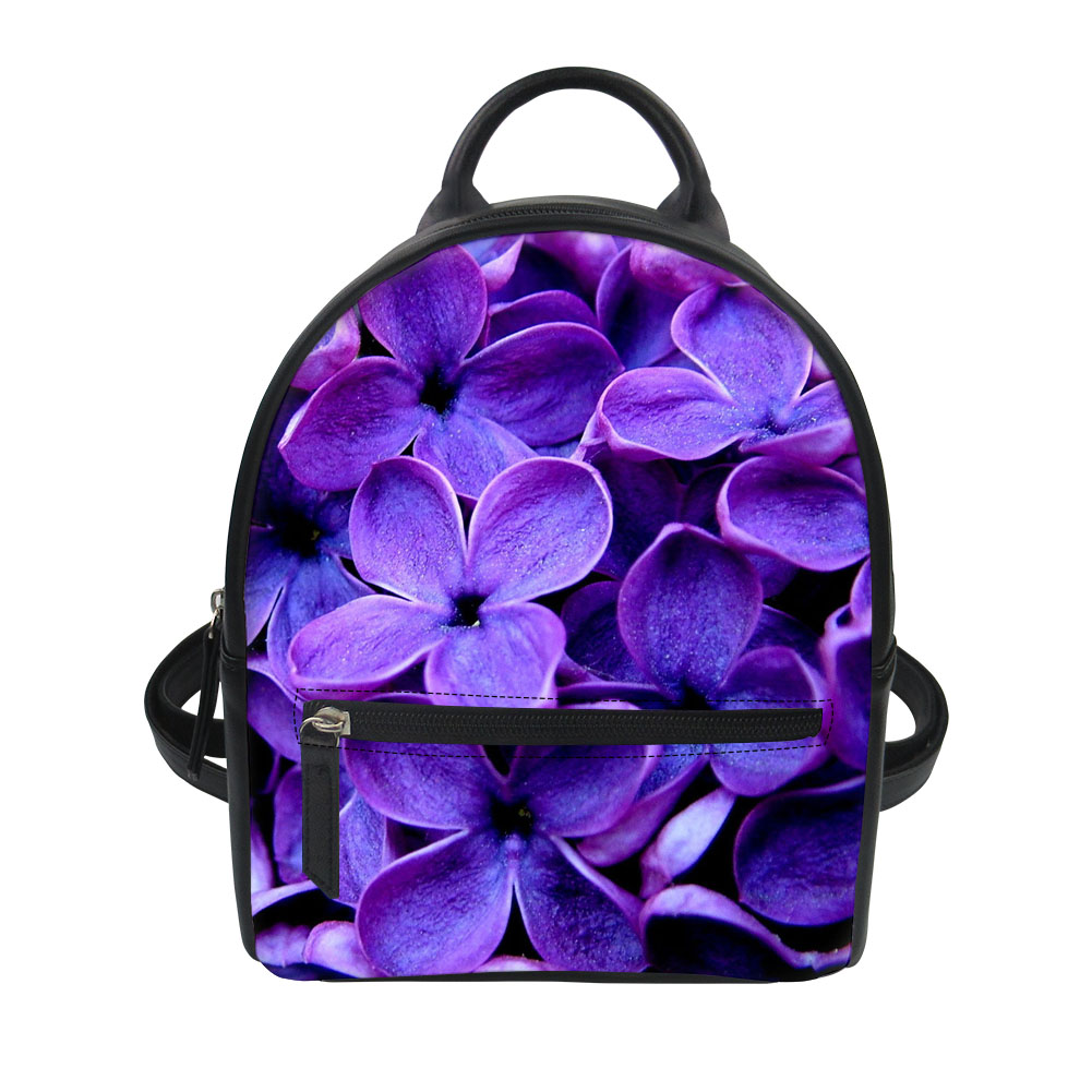 FORUDESIGNS Purple Lilac 3D Flower Women Leather Fashion Backpacks Girl School Bag for Teenager Vintage Bags for Lady Rucksack FORUDESIGNS Purple Lilac 3D Flower Women Leather Fashion Backpacks Girl School Bag for Teenager Vintage Bags for Lady Rucksack