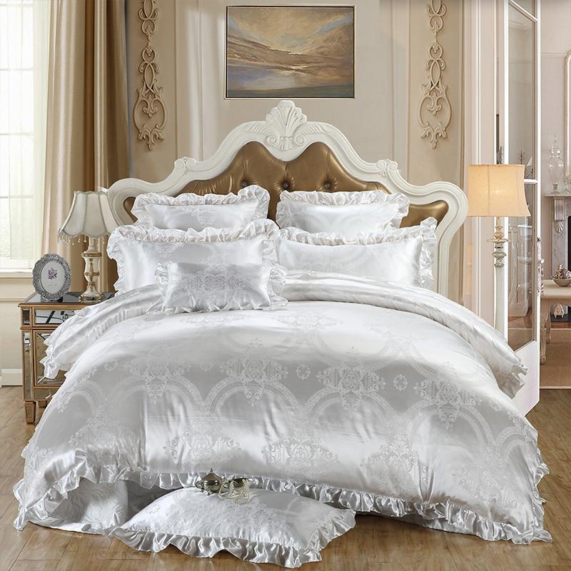 Luxury White Silk Satin Jacquard Bedding Set King Queen ...