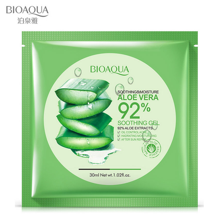 BIOAQUA Natural Aloe Vera Gel Face Mask Skin Care Moisturizing Oil Control Wrapped Mask Shrink Pores Facial Mask 1 Pcs