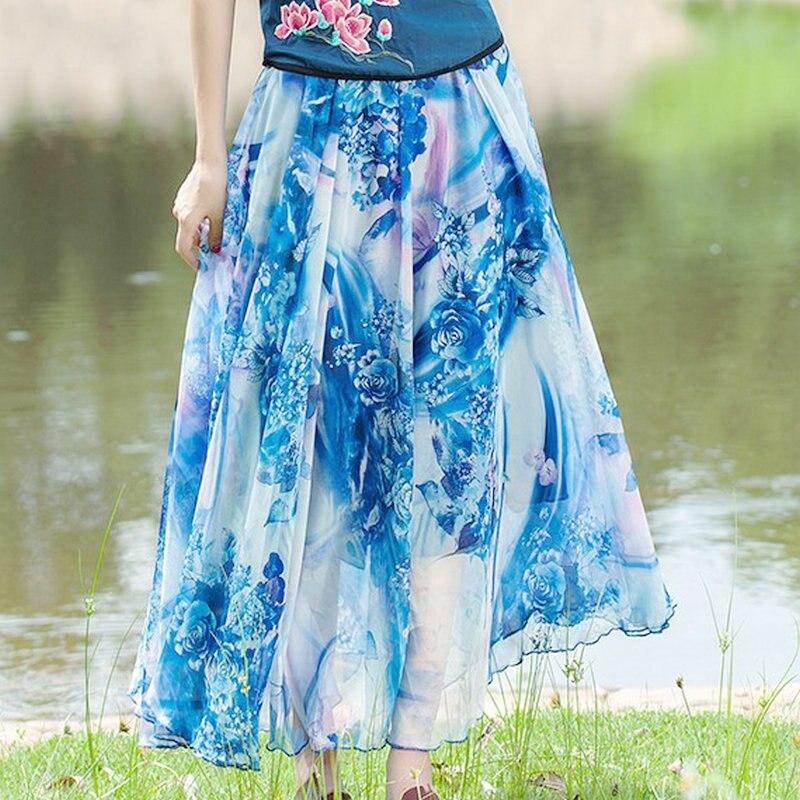 37b21cfd68 Fashion Design Summer Beach Women Skirt Vintage Chiffon Floral Print Long  Skirts Elastic Waist Boho Maxi Skirts
