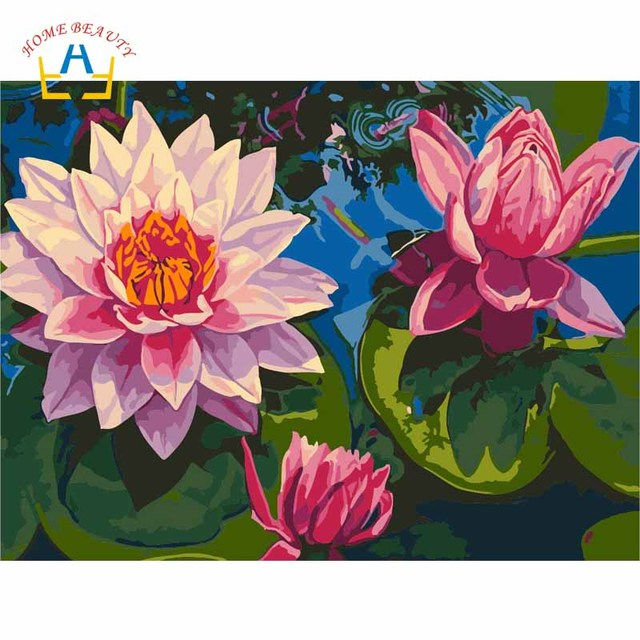 Diy Paintings By Numbers On Canvas With Acrylic Paints Lotus Flowers