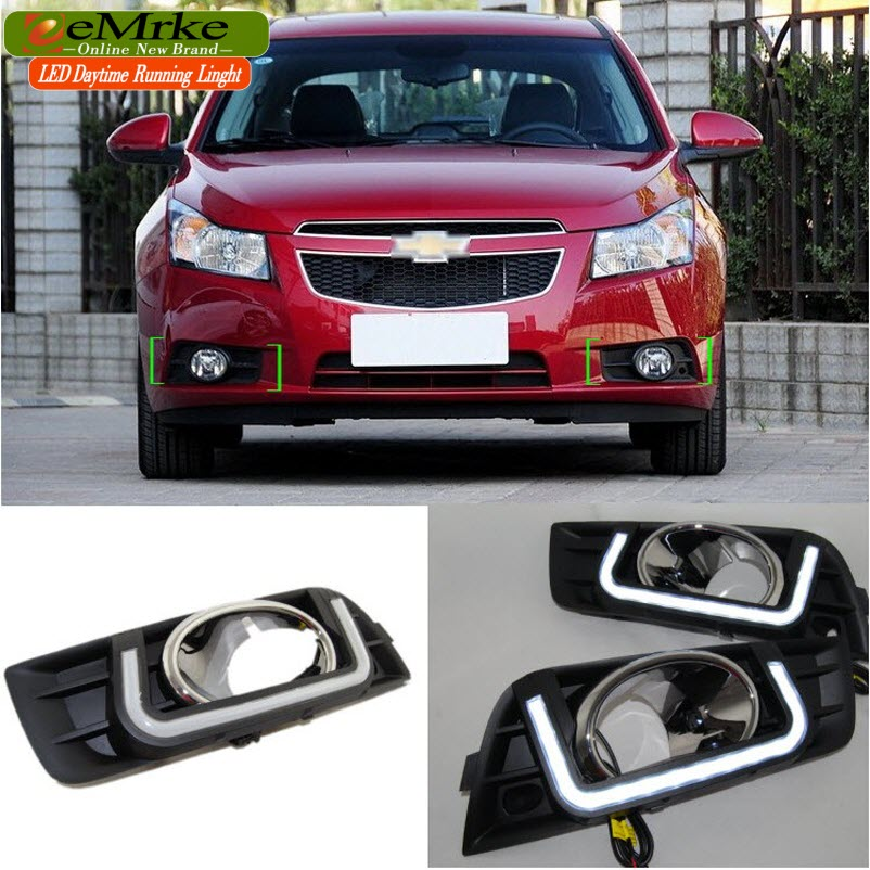eeMrke Car LED DRL For Chevrolet Chevy Cruze J300 High Power Xenon White Fog Cover Daytime Running Lights Kits  недорого