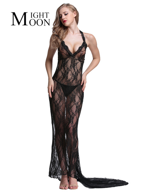 MOONIGHT 2017 Sexy Lingerie Hot Women Flower Lace Splice Elegant Sexy Long Dress Erotic Lingerie Sexy Cnightgown