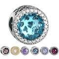 Authentic 925 Sterling Silver 7 Cores Cristais Facetados Radiante Corações Encantos Beads Para Fazer Jóias Diy Pulseiras Dos Namorados