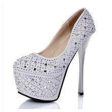 2017 Новая Мода Круглый Носок Весна Осень Обувь Тонкий Каблук женщины 16 см насосы высокие каблуки женщина нормальный размер Кристалл Свадьба обувь