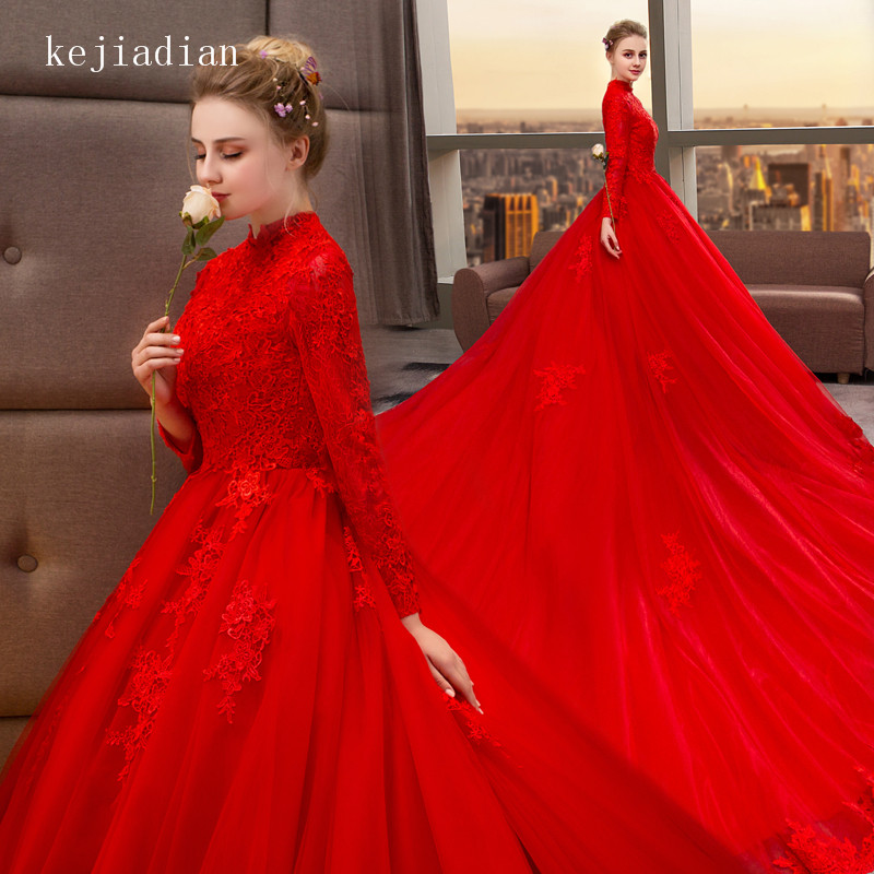 Luxury Ball Gown High Neck Wedding Dresses Red 2019 Royal