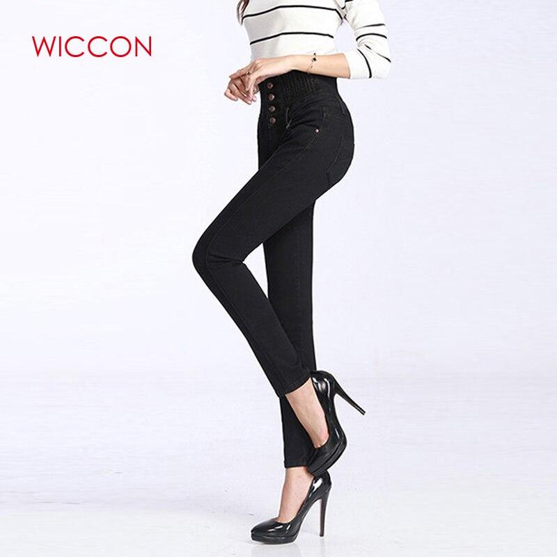 585ba6ea3e5 WICCON Новинка 2019 года для женщин Высокая талия брюки для девочек узкие  черные джинсы Кнопка Fly Молния Fly стрейч джинсы женщин полной длин