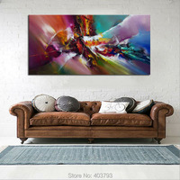 Hand Painted Modern Oil Painting on Canvas Art Large Abstract Picture Wall Decor 24x48 (No Frame) For Living Room