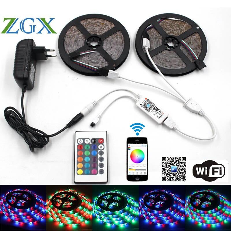 ZGX Wifi Contrôleur SMD 2835 10 M 15 M 5 M LED Bande RGB Bande de lumière Étanche Ruban Multicolore Lumière DC 12 V Power adapter set