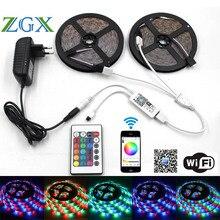 Zgx Wi-Fi контроллер SMD 2835 10 м 15 м 5 м Светодиодные ленты RGB света Клейкие ленты Водонепроницаемый ленты многоцветный свет DC 12 В Мощность адаптер Комплект