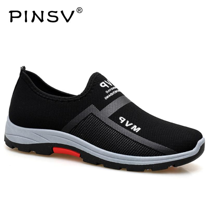 Primavera Das Sapatilhas Dos Homens Sapatos Casuais Sapatos de Malha de Ar Para Os Homens Mocassins Tênis Da Moda Preto Mens Formadores Sapato Masculino PINSV