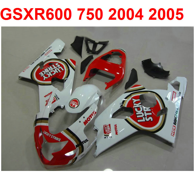 Lucky strike Fairing kit For Suzuki <font><b>gsxr</b></font> <font><b>600</b></font> 750 <font><b>2004</b></font> 2005 04 05 ( 100%ABS ) white red gsxr600 gsxr750 fairings m68 image