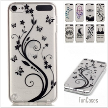 New Bra Butterfly Painted Transparent Soft TPU Phone cases for iPod Touch 5 Hollow Silicone Rubber protective Back covers
