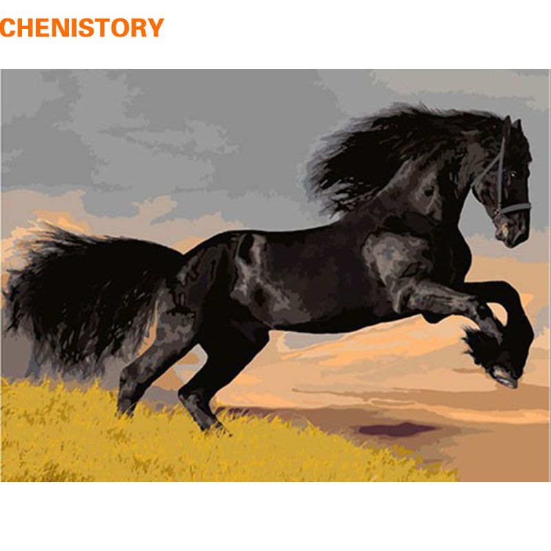CHENISTORY Horse Animal DIY Oil Painting By Numbers Kit Paint On Canvas Acrylic Coloring Painitng By Numbers For Home Wall Decor