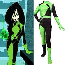 Adult Lady Super Villain Kim Possible Shego Cosplay Costumes Kids Girls Halloween Costume Lycra Spandex Zentai Suit Bodysuit