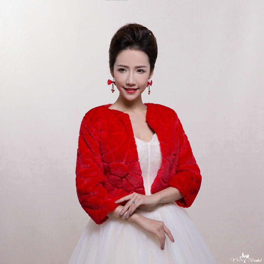 Bolero Rouge Mariage destiné ta075 rouge chaud d'hiver en fausse fourrure femmes veste pour le
