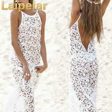 Sexy Women Lace Hollow Maxi Beach Dress Vestidos Summer 2018 Female Backless Bohemian Long White