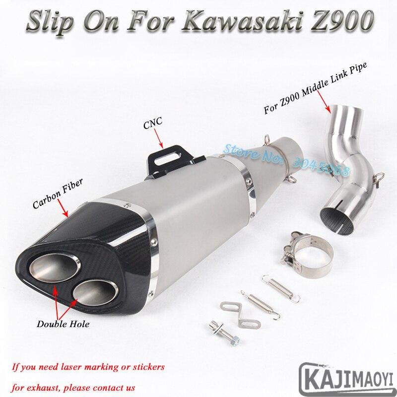 Auspuff Und Auspuffanlagen Z900 Motorradauspuff Escape Geändert Motor Link Rohr Carbon Schalldämpfer Cnc Slip-on Für Kawasaki Z900 Ninja900 2 Löcher