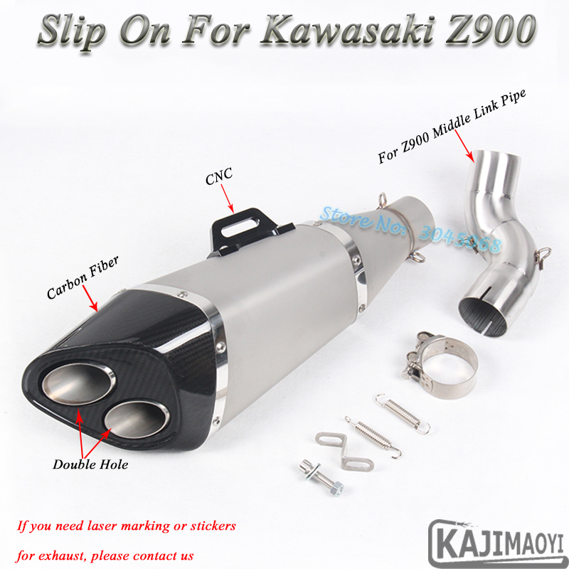 z900 Motorcycle Exhaust Escape Modified Motor Middle Link Pipe Carbon Muffler CNC Slip-on For Kawasaki Z900 Ninja900 2 Holes