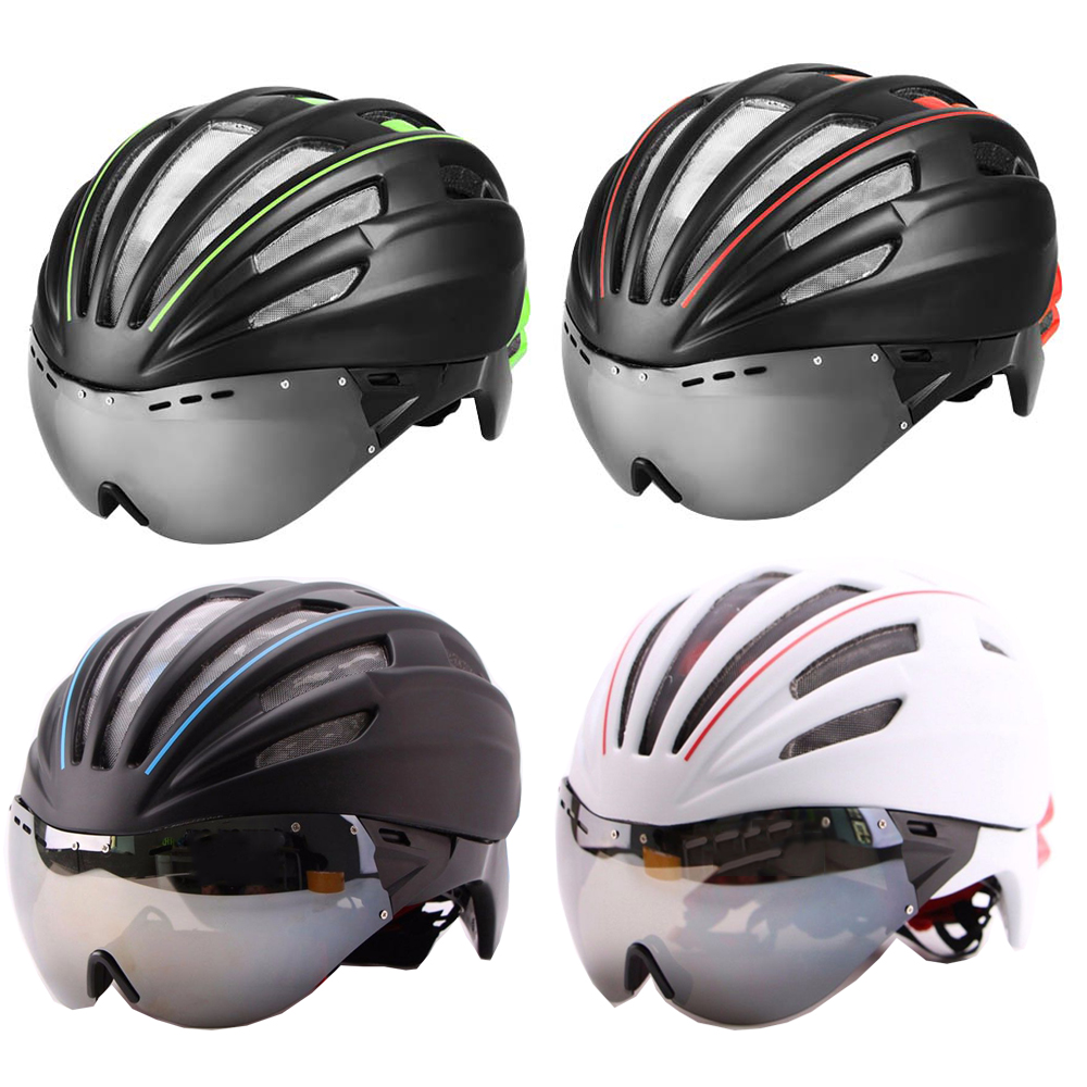 New Cycling Helmet Double Layers In-mold Cycling Helmet With Glasses Goggles Bicycle Helmet With Lens Bike Helmet 28 Air Vents цена