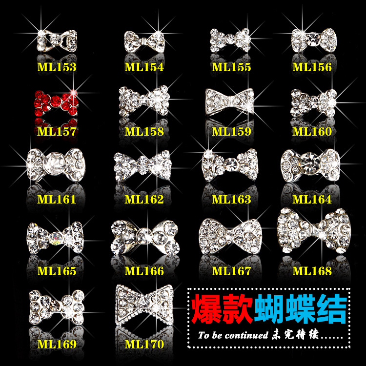 10PCs/Lot Hot Bow Nail Art Clear Rhinestones Crystal Bow Tie Alloy Bow Knot For Nails Dekor Decorations Accessories 18designs