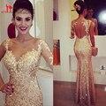 Barato Africano Ouro Champagne Lantejoulas Uma Manga Comprida Mermaid Evening vestido 2016 do baile de Finalistas Vestido de Festa vestido de festa robe de sarau