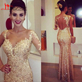 Cheap African Champagne Gold Sequin One Long Sleeve Mermaid Evening Dress 2016 Prom Party Dress vestido de festa robe de soiree