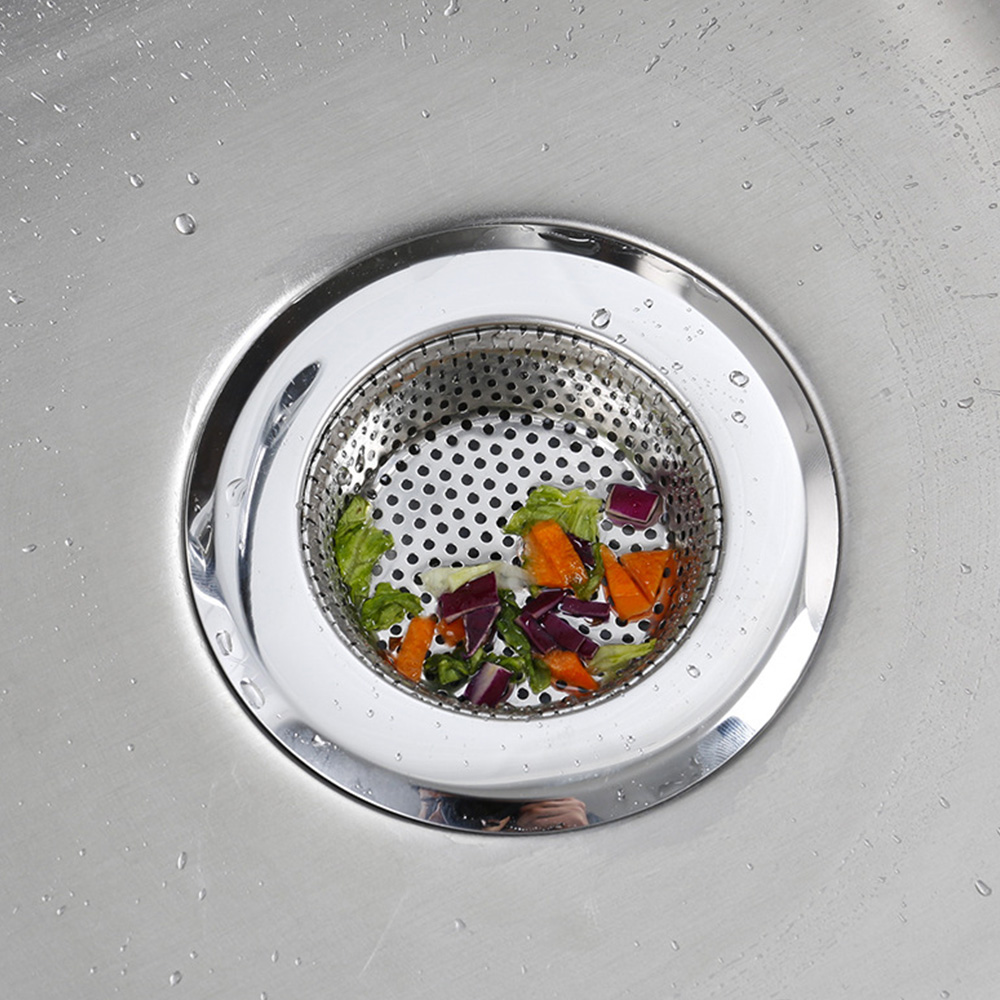 1PC Household Stainless Steel Kitchen Sink Strainer Drain Metal Sink Strainer Bath Sink Drain Waste Screen Kitchen Tool 2
