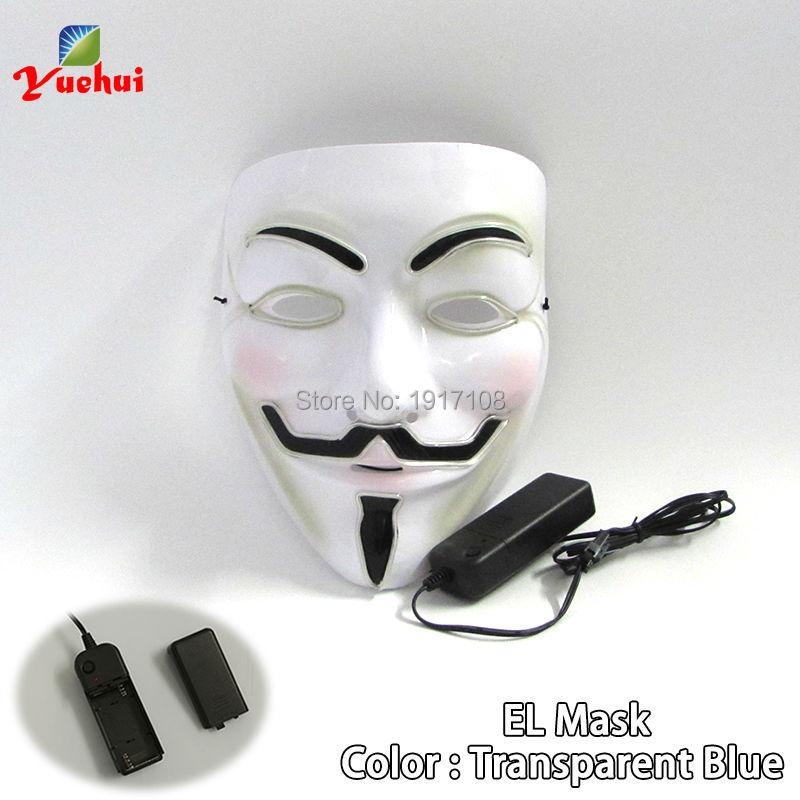 10 pièces mode Halloween 10 couleurs disponibles Vendetta masque el fil masque LED brillant néon masque comme Festival carnaval fête décor