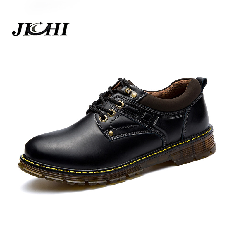 JICHI Leather Ankle Work Boots Men Winter/Autumn Men's Shoes Casual Short Boots Men Fashion Leisure Boots Shoes men fashion autumn and winter men s hooded leisure sweatshirt