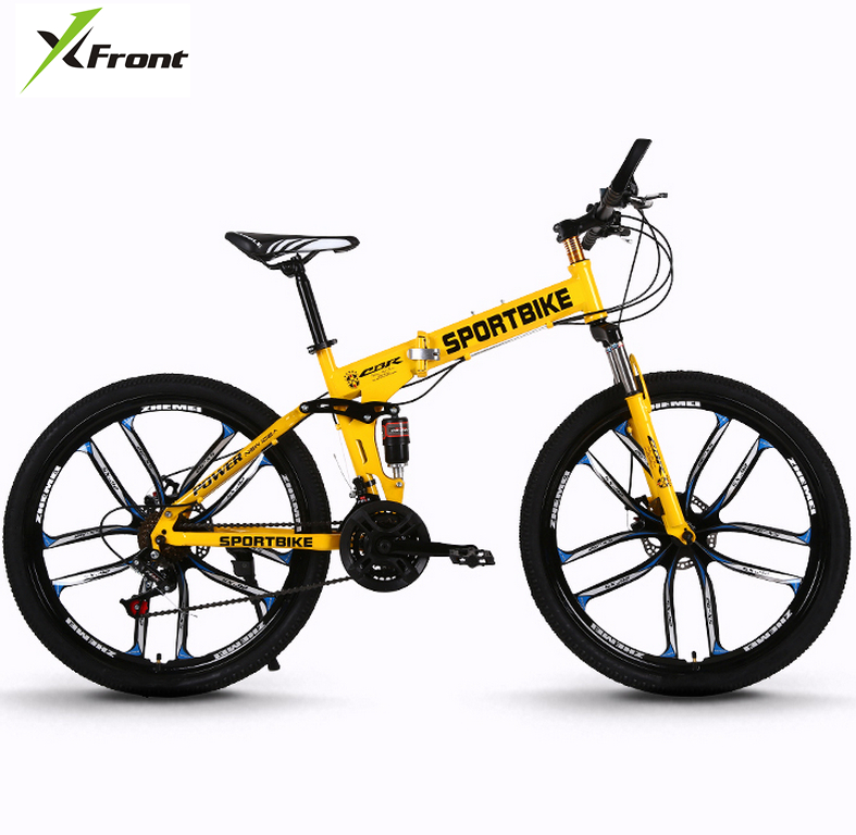 New X-Front Brand 26 Inch Carbon Steel 21/24/27 Speed One Piece Wheel Folding Bike Downhill Bicicleta MTB Mountain Bicycle