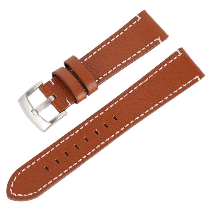 купить 18 20 22 24mm Man Women Leather Wrist Watch Band Strap Belt Wathes Band Brown Black erkek kol saati Strap онлайн