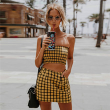 2018 New Style Yellow Black Plaid Women 2 Pieces Set Strapless Top And Sheath Skirt Hidden Zipper Fly Sexy Sets