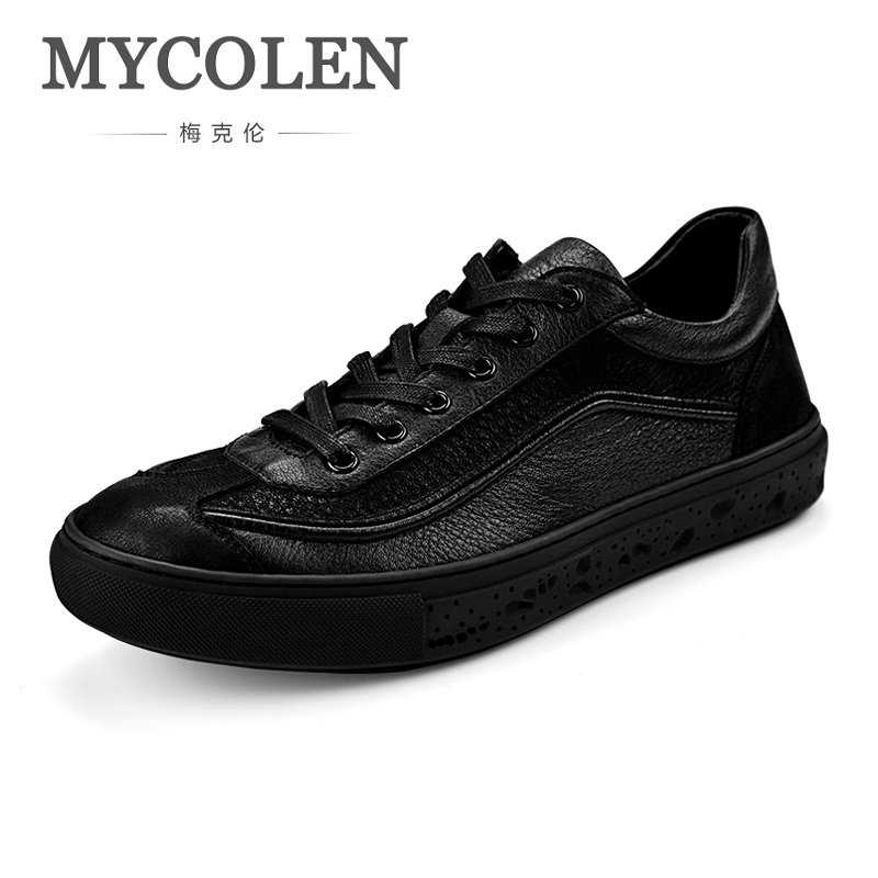 MYCOLEN Luxury Designer Men Shoes Brand Spring/Autumn New Mens Black Casual Shoes Lace-Up Personality Fashion Men Shoes ege brand handmade genuine leather spring shoes lace up breathable men casual shoes new fashion designer red flat male shoes