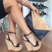 Г. Летняя новая женская обувь модные босоножки на танкетке на очень высоком каблуке Женская обувь большого размера на заказ