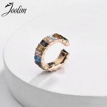 JOOLIM Single One Colorful Glass C Shaple Clip On Earring