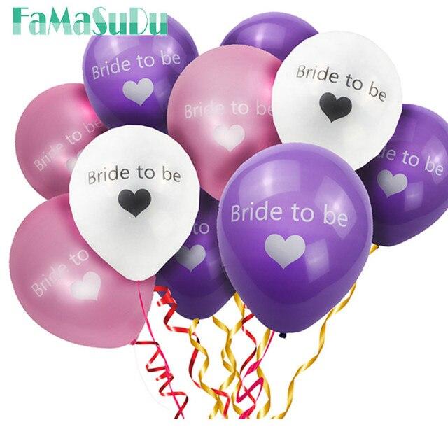10pcs Lot BRIDE TO BE Pink White Purple Ballon Bachelorette Party Wedding Decoration Event