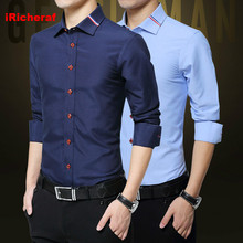 iRicheraf Men Shirt Long Sleeve Solid Mens Shirts Casual Slim Fit Turn-down Collar Single Breasted Non-ironing White Black Red