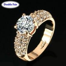 Классические свадебные/обручальные кольца для женщин AAA+ Кубический Цирконий Кристалл розовое золото цвет модные украшения anel DWR105M