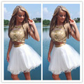 White Gold Short Mini Length Sleeveless Homecoming Dress With Beaded Bodice Vestido De Festa Curto