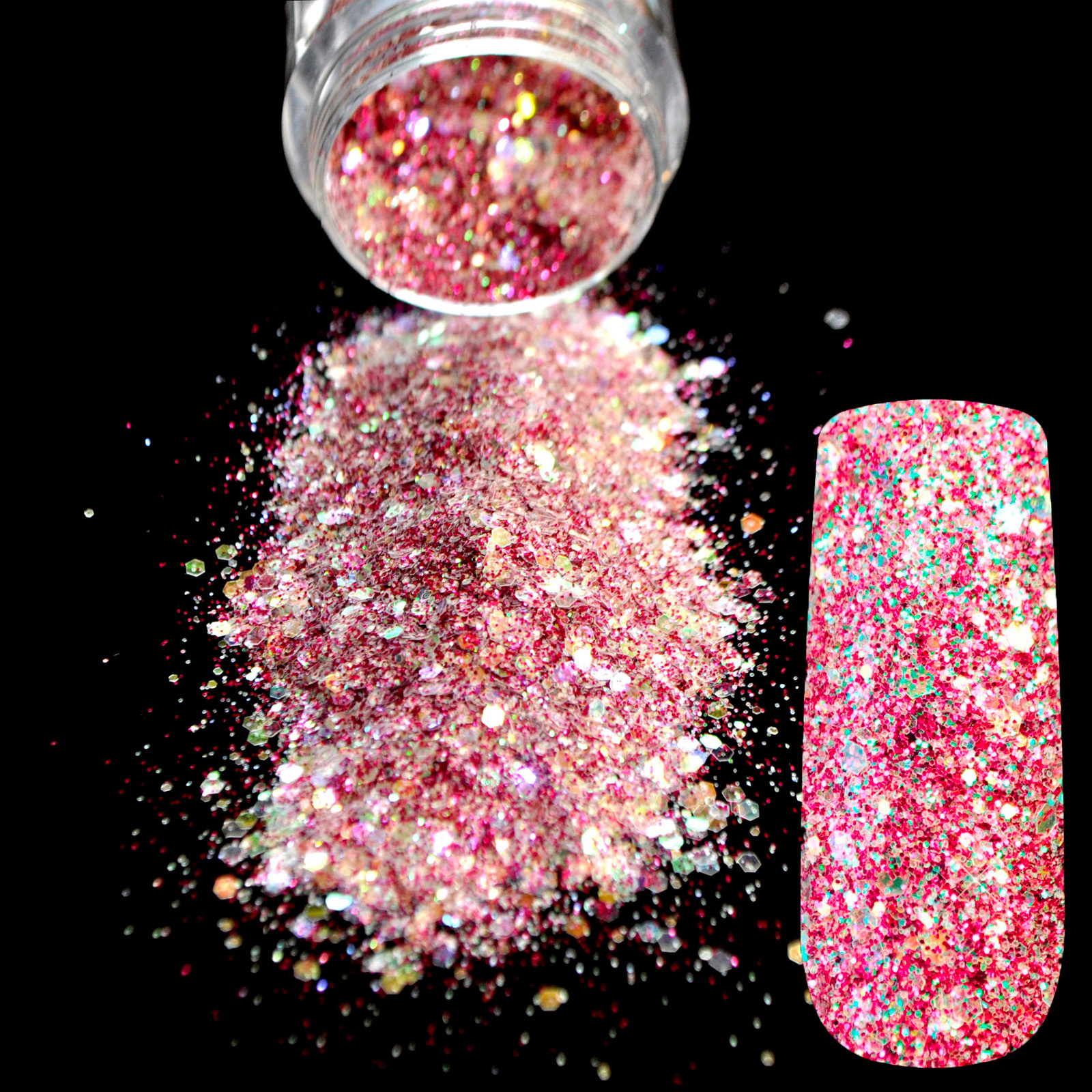 Pro Shiny Hot Pink White Rainbow Glitter Polvo UV Polvo Acrílico Nail Art Tip Body Shimmer Powder Decoration 275