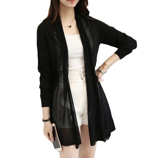 2016 новая коллекция весна лето корейских женщин свободные средней длины свитер женский кардиган тонкий кондиционер рубашку мыс верхняя одежда LH096