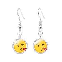 Women Fashion Luxury Brand Jewelry Lovely Yellow Face Emoji Drop Dangle Pendant Hook Earrings Wedding Party Accessory