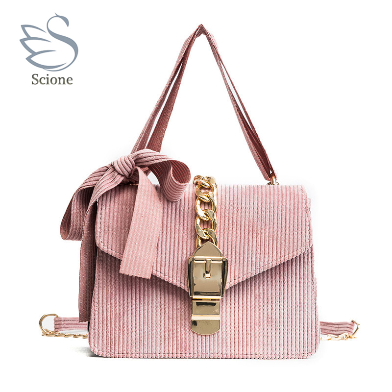 Fashion Women Autumn Spring Handbag Winter Velvet Soft Female Cute Bow Shoulder Bag Gold Chain Messenger Tote Bolsas Feminina