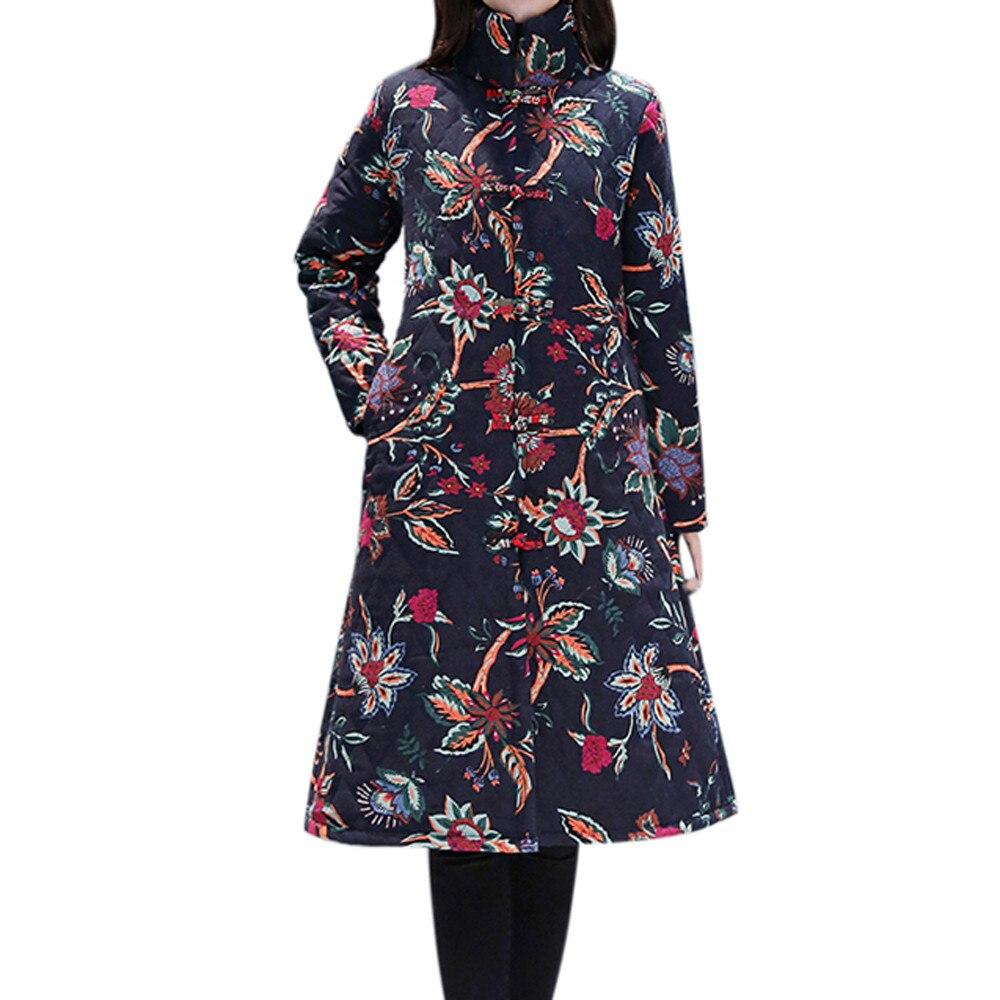 CHAMSGEND Women Winter Long Coat Folk-Custom Print Buttons Cotton Outwear Warm Long Thick Coat Jacket   Parka   Fashion Coat No9