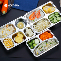 Portable Food Fruit Storage Container With Tableware Bento Box Stainless Steel Lunch Box
