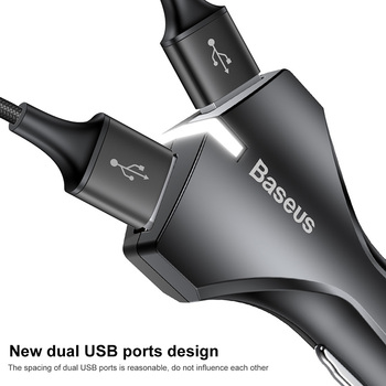 Baseus Quick Charge 3.0 Car Charger 5V3A QC3.0 Turbo Fast Charging Car-charger Dual USB Car Mobile Phone Charger For iPhone7 X 1