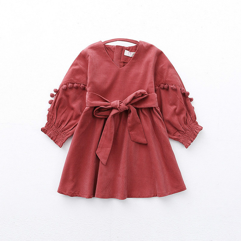 Kids Girls Dresses 2018 New Autumn Solid Princess Long Sleeves Pullovers Bow Kont Ball Gown Dresses Baby Girls Clothing 6ds003 kids girls dresses 2018 new winter solid